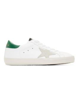 White & Green Superstar Sneaker by Golden Goose