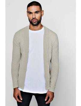 Muscle Fit Ribbed Edge To Edge Cardigan by Boohoo