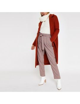 Red Check Tie Waist Tapered Trousers by River Island