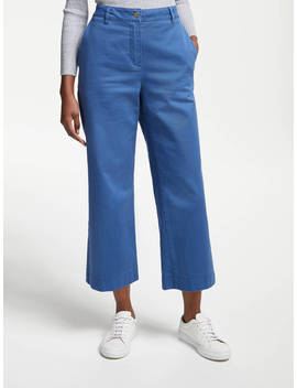 John Lewis & Partners Wide Leg Crop Trousers, Mid Blue by John Lewis & Partners
