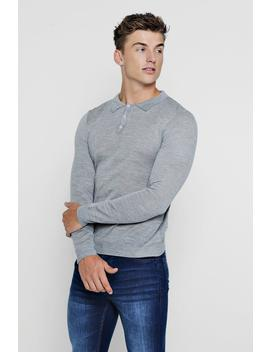 Regular Long Sleeve Knitted Polo by Boohoo