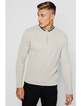 Zip Detail Long Sleeve Rib Knitted Polo by Boohoo