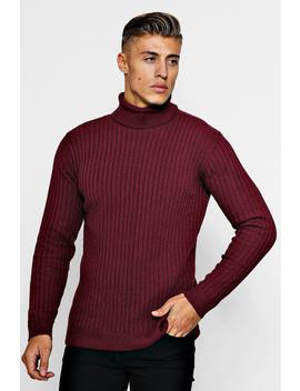 Ribbed Long Sleeve Roll Neck Jumper by Boohoo