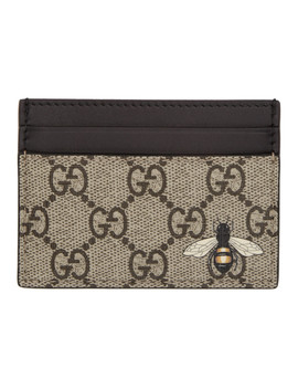 Beige Gg Supreme Bee Card Holder by Gucci