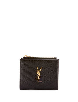 Monogram Ysl Quilted Grain Leather Zip Card Case by Saint Laurent