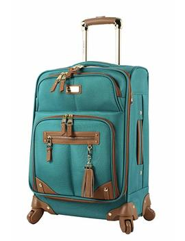 "Steve Madden Luggage Carry On 20"" Expandable Softside Suitcase With Spinner Wheels (20in, Harlo Teal Blue) by Steve Madden"