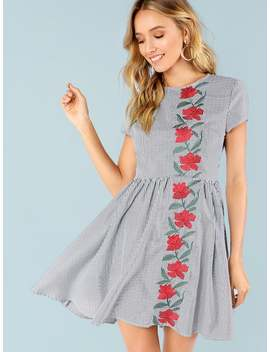 Rose Embroidered Fit And Flare Dress by Shein