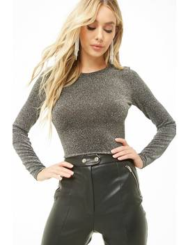 Metallic Long Sleeve Crop Top by Forever 21