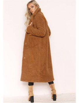 Karen Brown Teddy Borg Longline Coat by Missy Empire