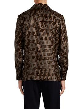 Zucca Print Silk Twill Shirt by Fendi