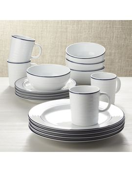 Roulette Blue Band 16 Piece Dinnerware Set by Crate&Barrel