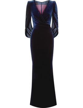 Rosin Cape Sleeved Velvet Gown by Talbot Runhof
