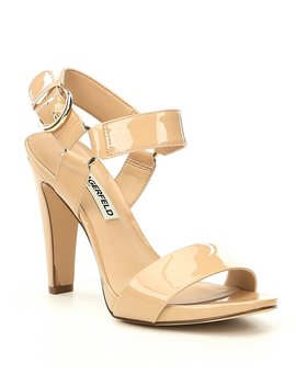 Cieone Ankle Strap Patent Leather Dress Sandals by Karl Lagerfeld Paris