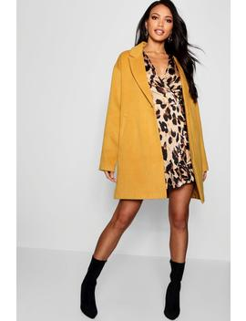 Button Wool Look Coat by Boohoo