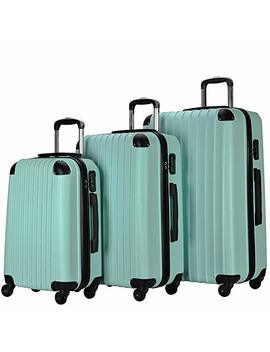 Resena 3 Pieces Carry On Luggage Sets Spinner Wheel Suitcases 20in24in28in (Green) by Resena