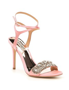 Hailey Satin Rhinestone Ankle Strap Dress Sandals by Badgley Mischka