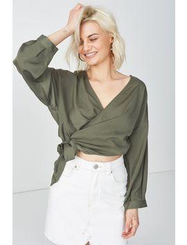 Mia Wrap Top by Cotton On
