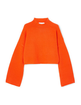 Oversized Cropped Cable Knit Wool And Cashmere Blend Sweater by Jw Anderson