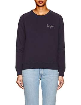 """""""Bonjour"""" Cotton Fleece Sweatshirt by Maison Labiche"""