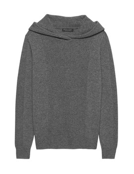 Cashmere Waffle Knit Sweater Hoodie by Banana Repbulic