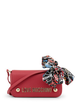 Red Flap Clutch Bag by Love Moschino