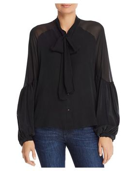 Tie Neck Silk Shirt by 7 For All Mankind