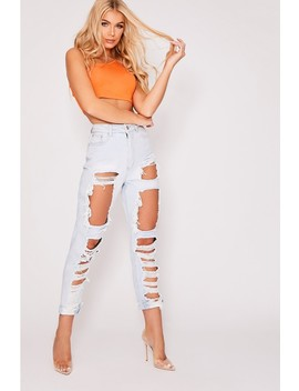 Mavric Blue Denim High Waisted Extreme Multi Rip Mom Jeans by In The Style