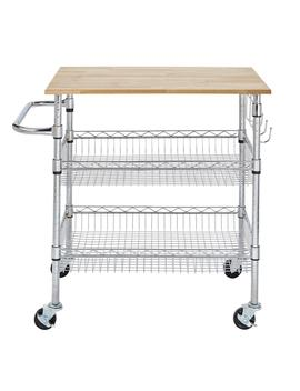 Gatefield Chrome Large Kitchen Cart With Rubber Wood Top by Style Well