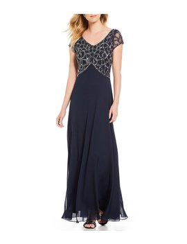 Sequin Bodice Chiffon Gown by Jkara