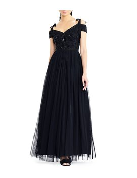 Beaded Bodice Tie Strap Cold Shoulder Gown by Adrianna Papell