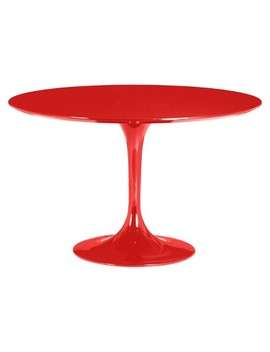 "Mid Century 47"" Round Bevel Edge And Tulip Base Dining Table   Red   Zm Home by Zm Home"