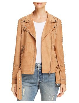 Studded Faux Suede Moto Jacket   100 Percents Exclusive by Aqua