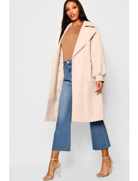 Oversized Sleeve Wool Look Coat by Boohoo
