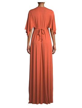 V Neck Kimono Sleeve Empire Waist A Line Long Caftan Dress by Rachel Pally