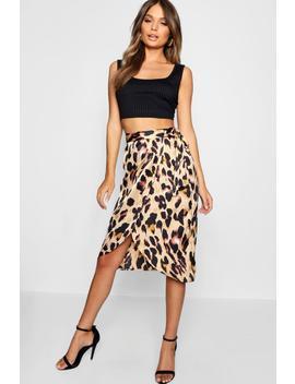 Leopard Print Satin Wrap Midi Skirt by Boohoo