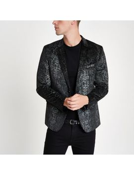 Black Snakeskin Print Skinny Fit Blazer by River Island