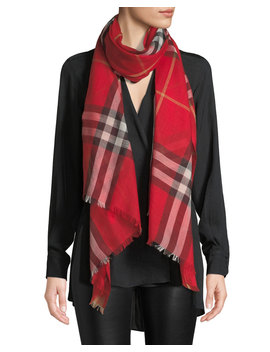 Gauze Giant Check Scarf by Burberry