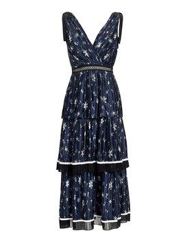 Star Print Tiered Midi Dress by Self Portrait