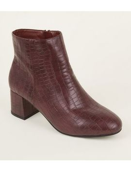 Wide Fit Dark Red Faux Croc Block Heel Ankle Boots by New Look