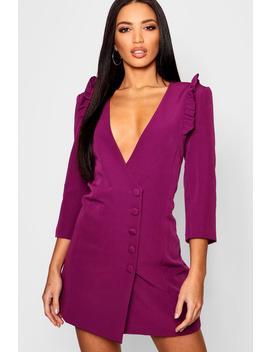 Woven Ruffle Shoulder Button Detail Blazer Dress by Boohoo