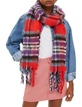 Heavy Check Scarf by Topshop