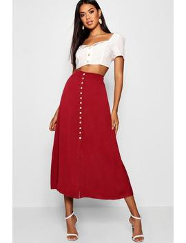 Small Button Detail Midi Skirt by Boohoo