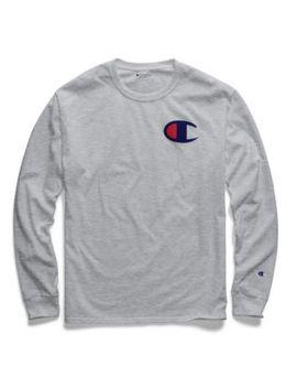 Champion Men's Classic Jersey Long Sleeve Tee, Big C Logo by Champion