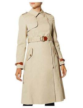 Zip Front Long Trench Coat by Karen Millen
