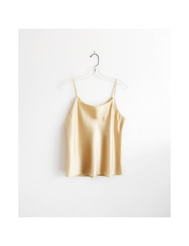 Vintage 90s Gold Satin Slip Cami Top Est. L Xl by Vintage
