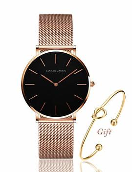 Women's Rose Gold Watch Analog Quartz Stainless Steel Mesh Band Casual Fashion Ladies Wrist Watches With Love Knot Bracelet Gift by Dwg