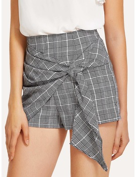 Knotted Overlap Front Plaid Shorts by Romwe