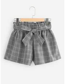 Frill Trim Self Tie Waist Checked Shorts by Romwe