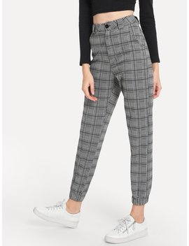 Plaid Button Decoration Pants by Romwe