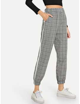 Elastic Waist Tape Panel Side Plaid Pants by Romwe